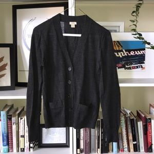 Jcrew Factory charcoal grey v-neck cardigan